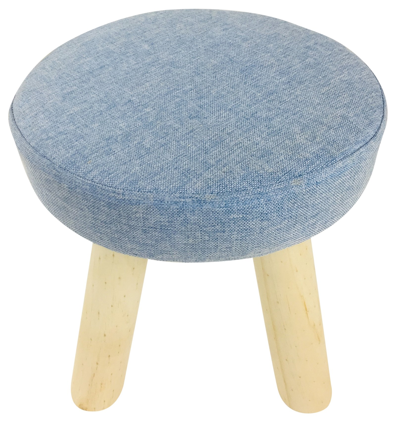 Blue Fabric Wooden Stool 29cm