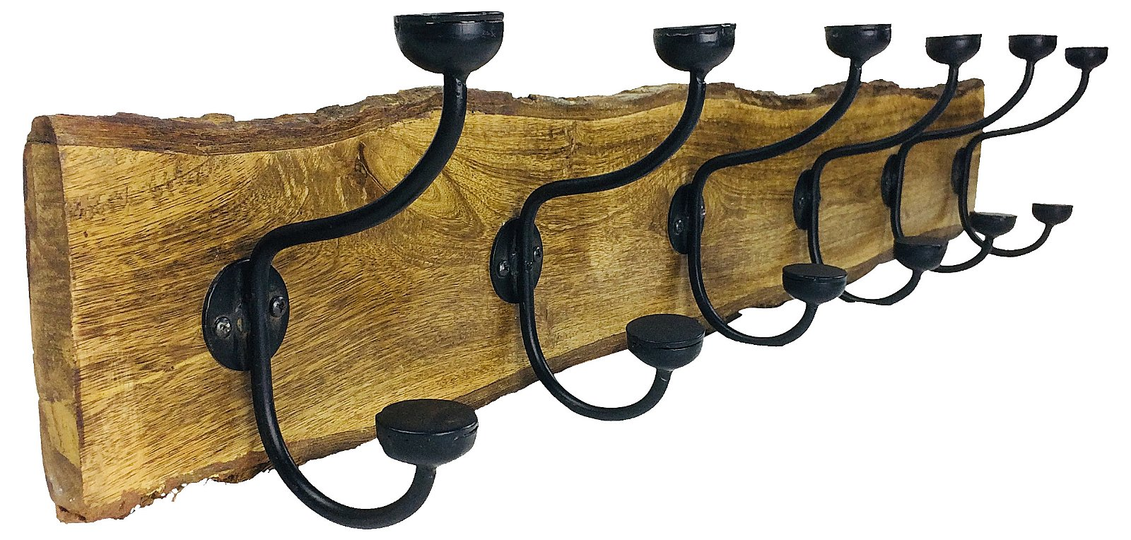 Distressed Wooden Hanger With 6 Hooks 97.5cm