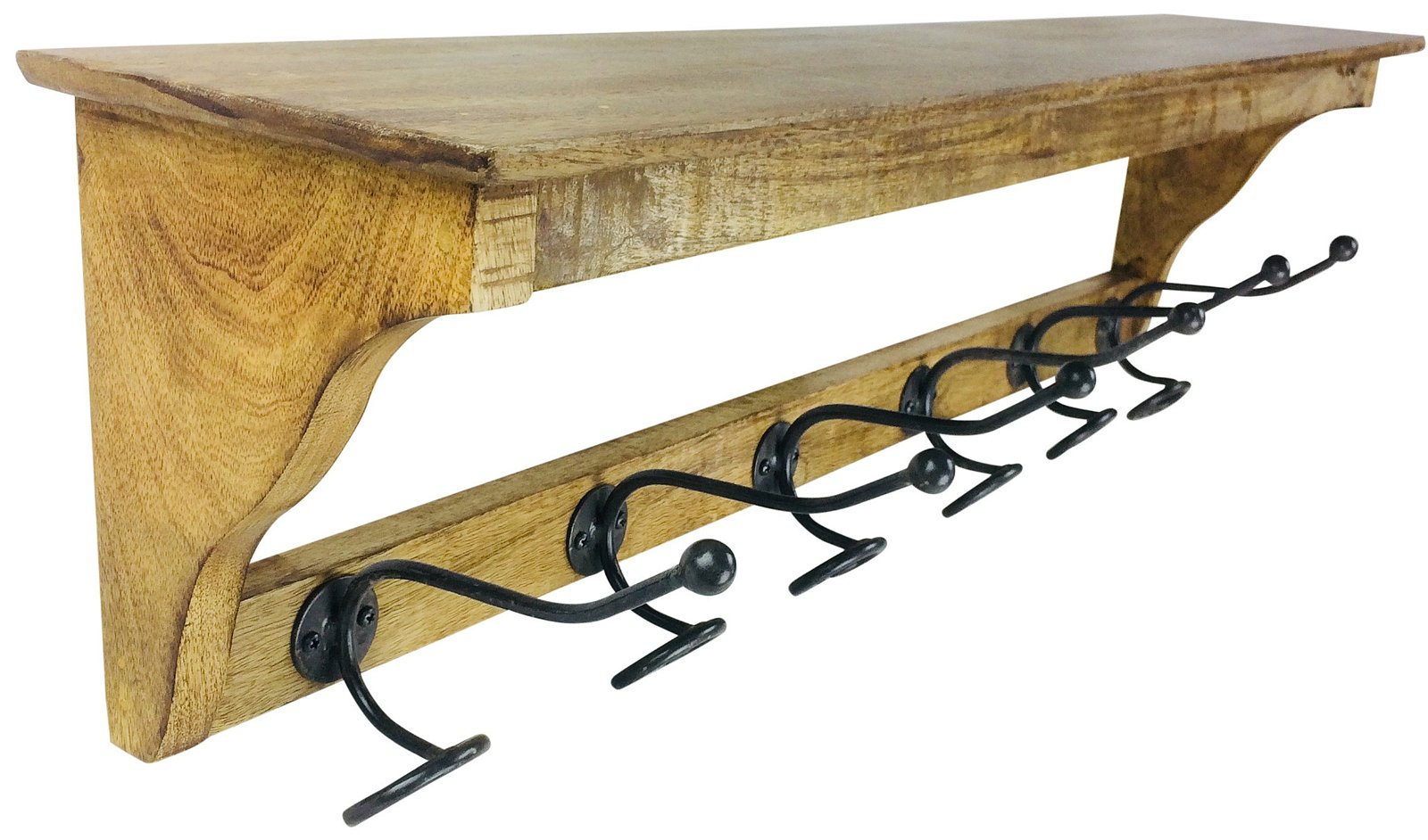 Solid Wood Bracket With 6 Hooks 92cm