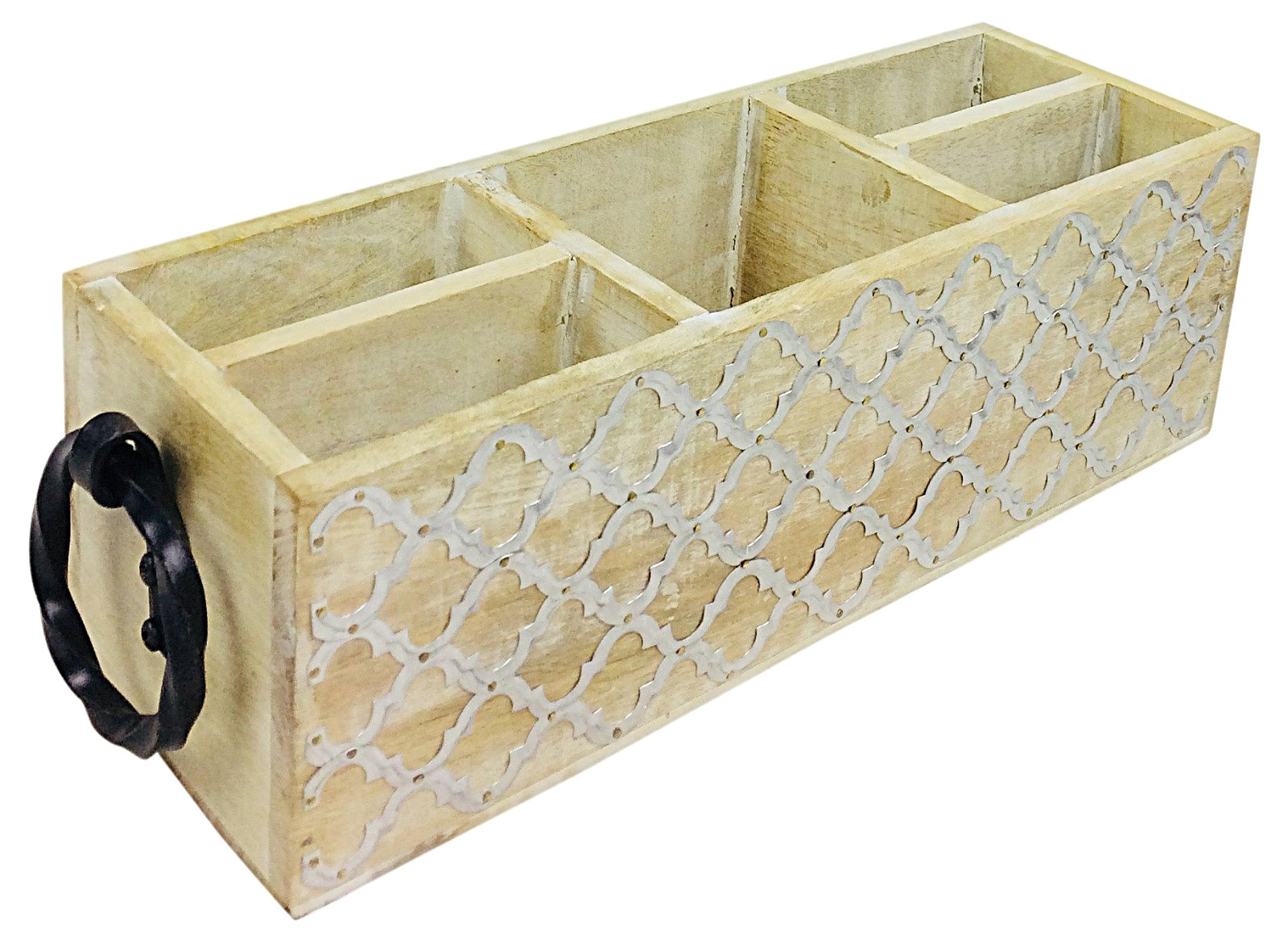 Wooden Cutlery Holder With Handles 40cm