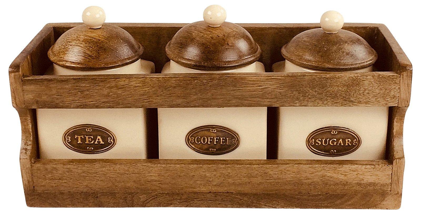 Wooden Rack with 3 Ceramic Jars