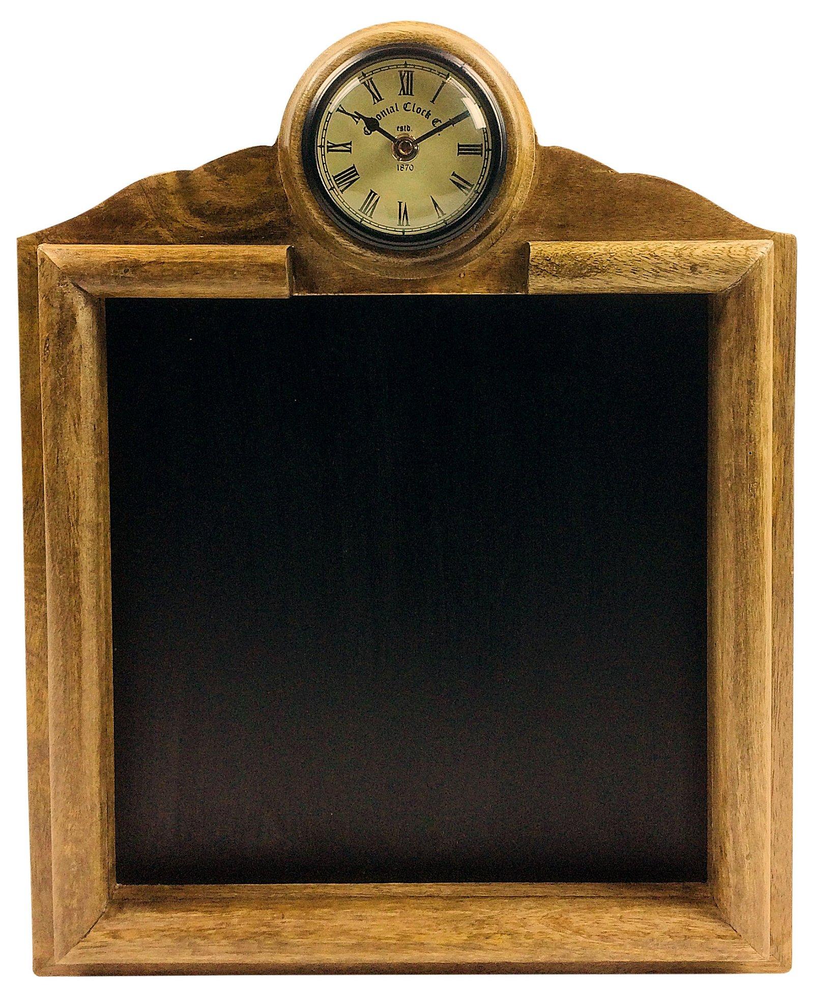 Wooden Blackboard With Clock