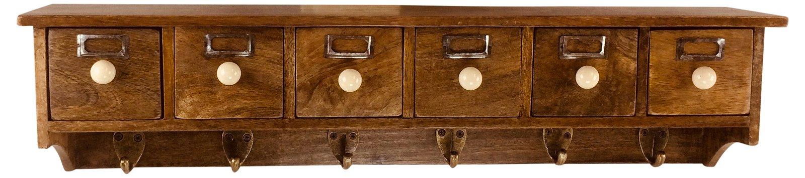 Shelf with 6 Drawers & Hooks