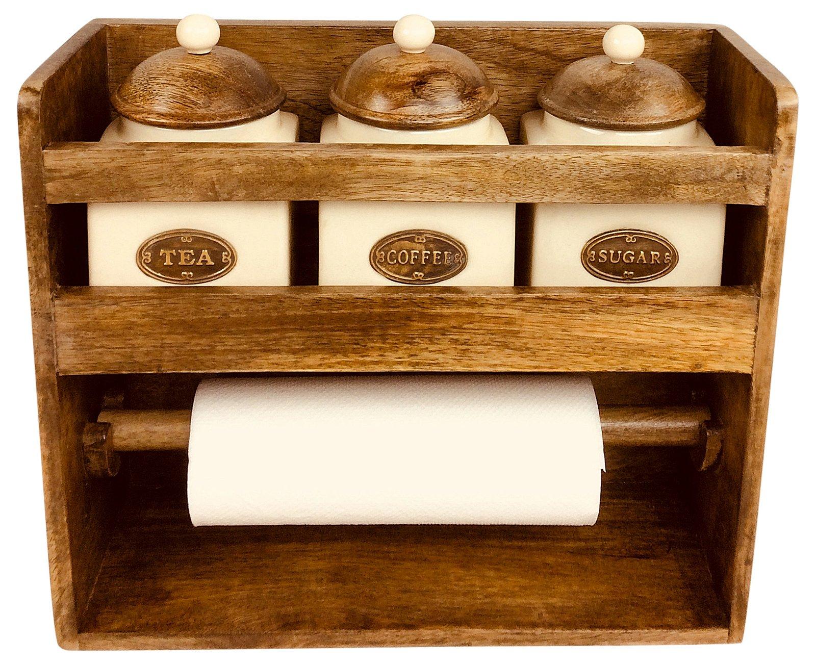 Kitchen Roll Holder With 3 Jars